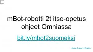 Linkki mBot koulutusmateriaalin suomeksi